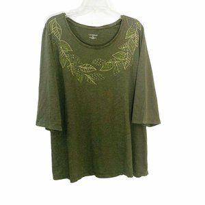 Catherines Green Crew Neck Leaf Print T-Shirt